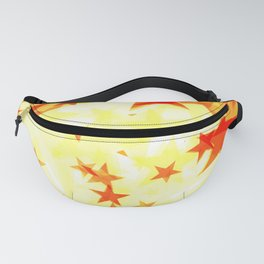 Glowing red and yellow stars on a light background in projection and with depth. Fanny Pack
