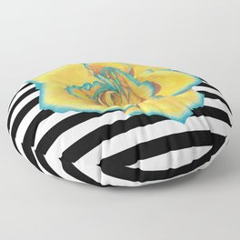 Yellow and Turquoise Rose on Stripes Floor Pillow