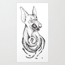 Snarling Doberman Demon Art Print