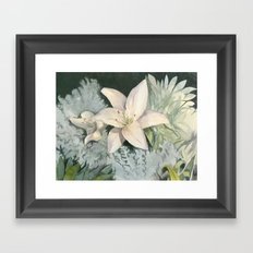 Lilies in the Moonlight Framed Art Print