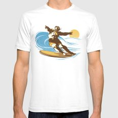 God Surfed SMALL White Mens Fitted Tee