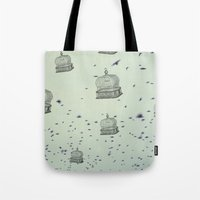 cage Tote Bags featuring cage free by Beverly LeFevre