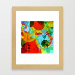 geometric square pixel and circle pattern abstract in red blue yellow Framed Art Print