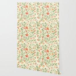 Watercolor Botanical Pattern Wallpaper