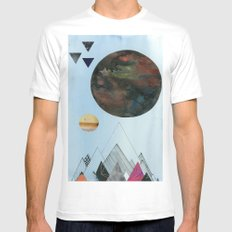 Moons and Mountains White Mens Fitted Tee MEDIUM