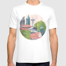 A Pleasant Day in Seattle White MEDIUM Mens Fitted Tee