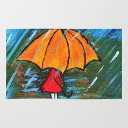 girl and her yellow umbrella Rug