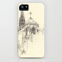 Notre Dame Cathedral Sketch iPhone Case