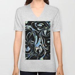 Black and Pastel Marble Swirls Unisex V-Neck