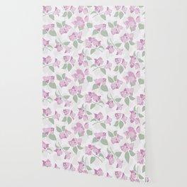 Bougainvillea flowers seamless repeating pattern, pink, green, pastel Wallpaper