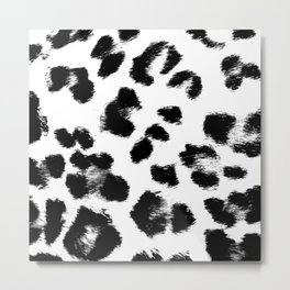 Black & White Leopard Print Metal Print