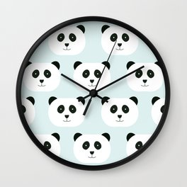Panda Love- Mint Blue Wall Clock