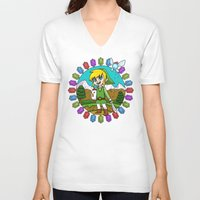 hyrule V-neck T-shirts featuring Hyrule Adventurer by Crimson Pumpkin