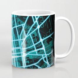 Stockton, CA, USA, Blue, White, Neon, Glow, City, Map, Blue, White, Neon, Glow, City, Map Coffee Mug
