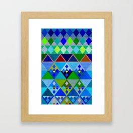 Cobalt Blue Diamond pattern Framed Art Print