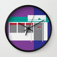 kansas city Wall Clocks featuring Kansas City Food - BBQ by greetingsfromKC