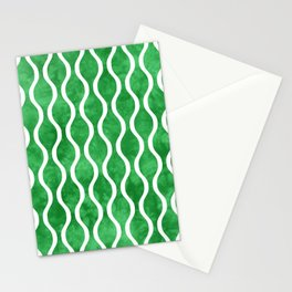 Retro Tie Dye Ogee Pattern 315 Green Stationery Cards