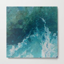 Ocean View, abstract acrylic fluid painting Metal Print