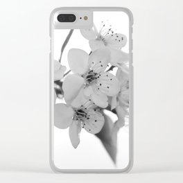 Bradford Pear Blossoms in black and white Clear iPhone Case