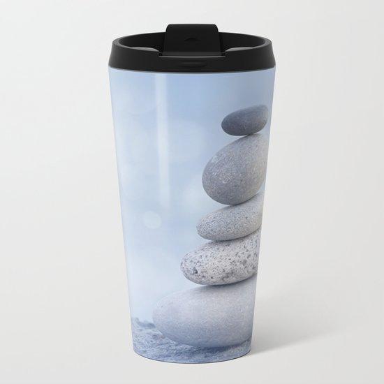 Balanced Zen Pebble Stack Blue Light Metal Travel Mug