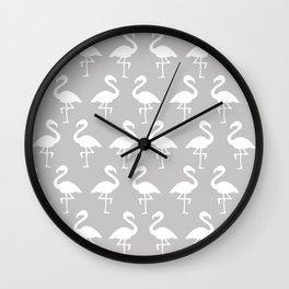 Flamingos in Gray Wall Clock
