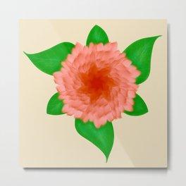 Circular Pink Carnation Floral Design Digital Painting Metal Print
