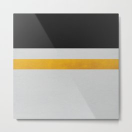 Charcoal, Grey and Gold Striped Metal Print