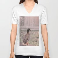duck V-neck T-shirts featuring Duck by LemonThree