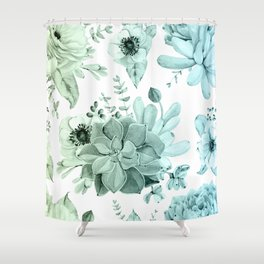 Simply Succulent Garden in Turquoise Green Blue Gradient Shower Curtain