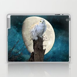 White Snowy Owl Bird Moon Blue A141 Laptop & iPad Skin