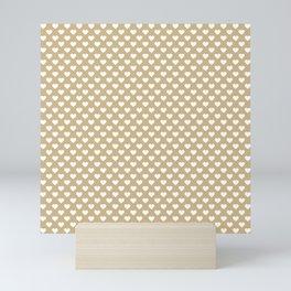 Large White Hearts on Christmas Gold Mini Art Print