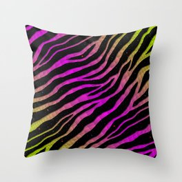 Ripped SpaceTime Stripes - Lime/Pink Throw Pillow