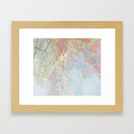 Pastel unicorn marble Framed Art Print