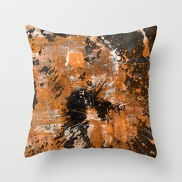 Rusting Darkness - Abstract in gold, black and white Throw Pillow