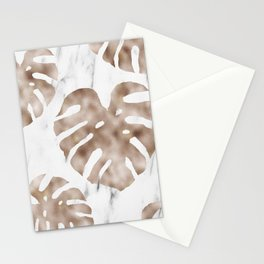 Rose gold monstera on white marble Stationery Cards