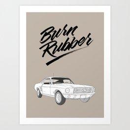 Mustang – Burn Rubber Art Print