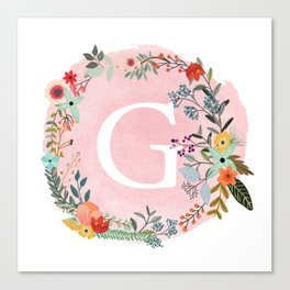 Flower Wreath with Personalized Monogram Initial Letter G on Pink Watercolor Paper Texture Artwork Canvas Print