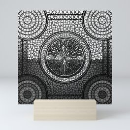 Tree of life - Yggdrasil- Dot Art Grayscale Mini Art Print