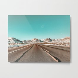 Vintage Desert Road // Winter in the Mojave of Las Vegas at Red Rock Canyon National Park Metal Print