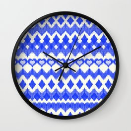 Ikat Pattern in Cobalt Blue & White Wall Clock