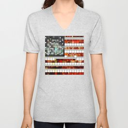 Retro Abstract American Flag Unisex V-Neck