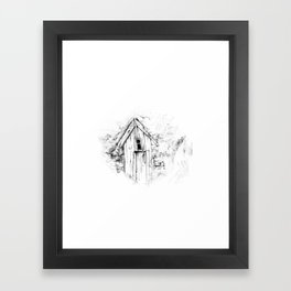 icelandic turf house Framed Art Print