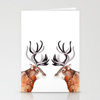 reindeer Stationery Cards featuring Reindeer  by Michelle Pegrume