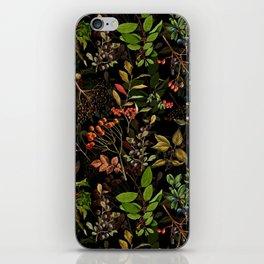 Vintage & Shabby Chic - vintage botanical wildflowers and berries on black iPhone Skin