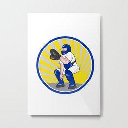 Baseball Catcher Catching Side Circle Metal Print