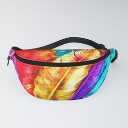 colorful bird feathers watercolor splatters Fanny Pack