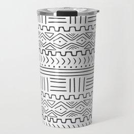 Mud Cloth on White Travel Mug