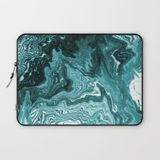 Yumiko - spilled ink painting abstract minimal ocean wave water sea monochromatic trendy hipster art Laptop Sleeve