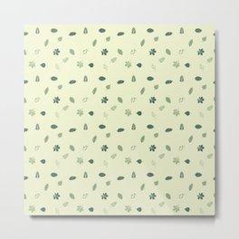 Dotted Leaves- Teal Metal Print