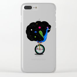 Peacock riding a bike Clear iPhone Case